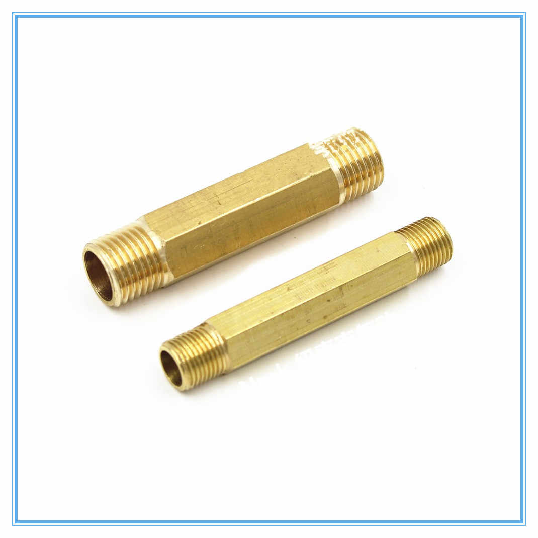 "1pcs Brass Pipe Fitting 59mm Long Nipple with G1/8"" G1/4"" G3/8"" G1/2""  Male Thread"