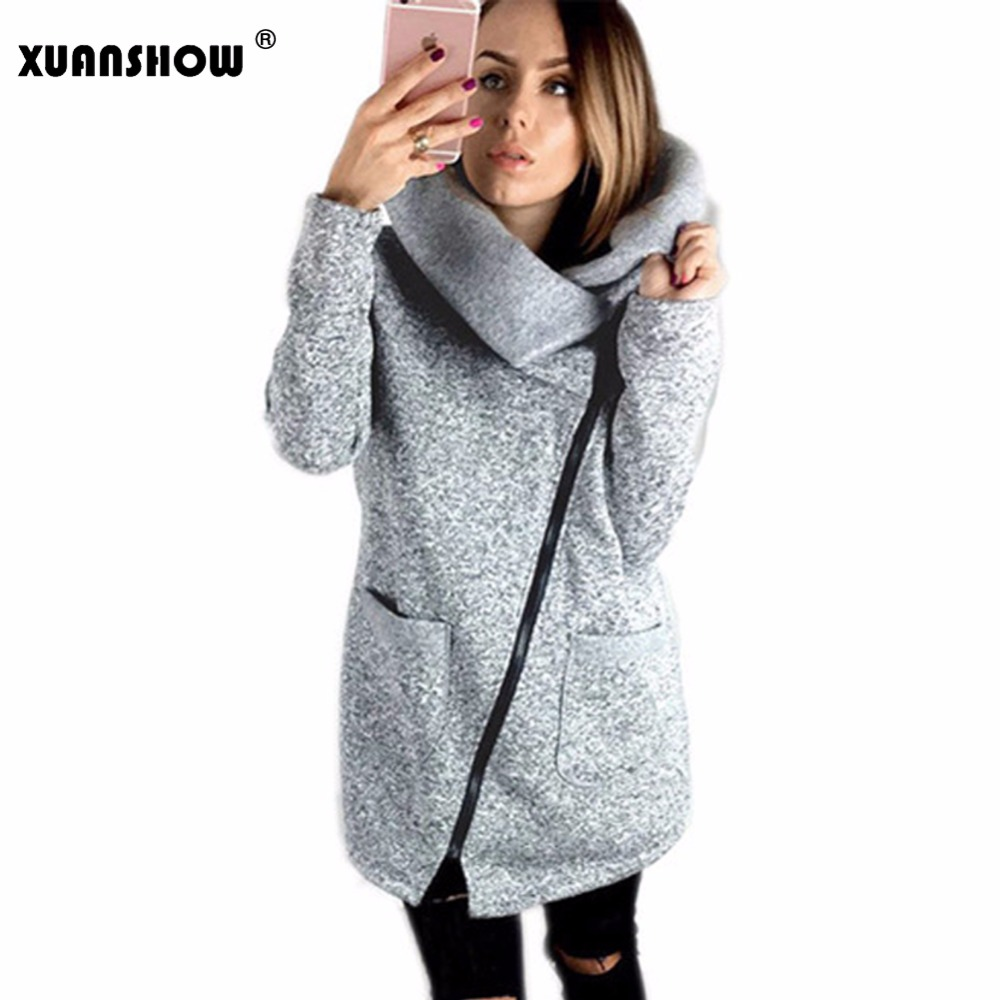 XUANSHOW Fashion Women Autumn Winter Hoodies Fleece Keep Warm Sweatshirts Zipper Turndown Collared Coat Lady Jacket Plus Size