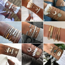 21 Styles Boho Fashion Shell Heart Crystal Leaf Arrow Wings Bead Chain Bracelet Set Women Charm Beach Party Jewelry Accessories(China)