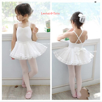 Ballet Tutu Costume High Quality Spaghetti Bow Sweet Practice Dancing Skirt Cheap Classic White Swan Lake Ballet Dance Dress