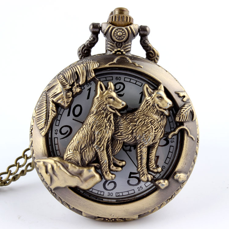 Free shipping Bronze Wolf Hollow Quartz Pocket Watch Necklace Pendant Women Men's Gifts CZ12 Wolf P256