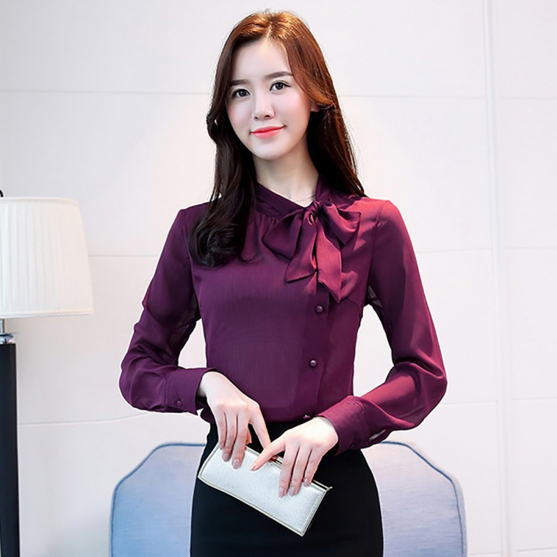 Women New Bow Neck Chiffon   Shirts   Spring Autumn Long Sleeve Solid   Blouse     Shirt   Office Lady Work Wear Formal Tops