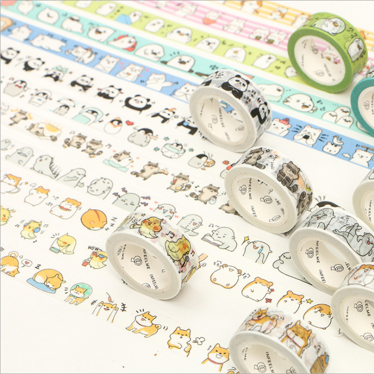 Cute Animals Round Animal Panda Penguin Raccoon Cat Washi Tape Adhesive Tape DIY Scrapbooking Sticker Label Masking Tape