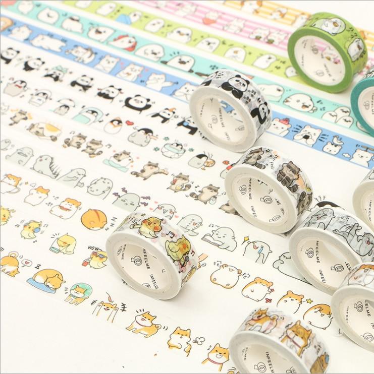 Cute animals Round Animal Panda Penguin Raccoon cat Washi Tape Adhesive Tape DIY Scrapbooking Sticker Label Masking Tape