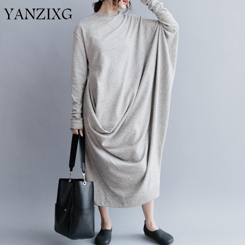 2019 nouveau printemps mode femmes vêtements col rond manches chauve-souris asymétrique lâche longue robe femme taille libre Q276