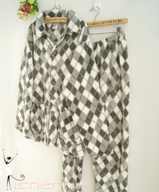 Autumn and winter black and white male small plaid coral fleece lounge male sleep set