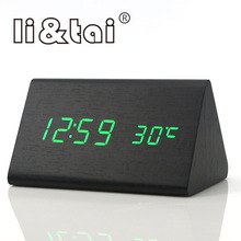 Triangle Wooden Digital Alarm Clock Calendar Thermometer Sound Control Home Office LED Display Electronic Desktop Table Clocks