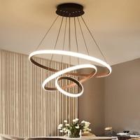 Modern Led Chandelier Light For Living Room Bedroom Luminaires 20 40 60 80cm Circle Rings Chandelier Lighting FixtureAC110V 220V