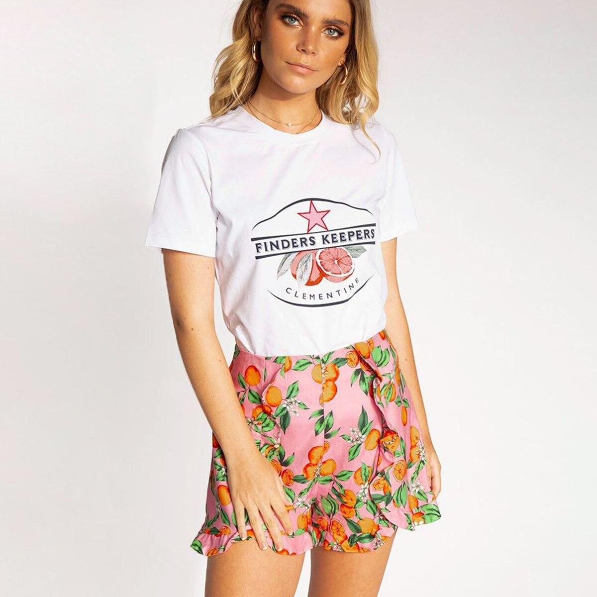 87a81311cf69 Mandarino Ruffles Shorts Donne Rosa A Vita Alta Stampa Casual Streetwear  Gonna Shorts 2019 Vestiti di