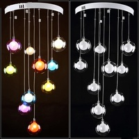 Modern Minimalist Restaurant LED Living Room Pendant Light Bedroom Lamp Glass Ball Bubble Lamp Creative Colours