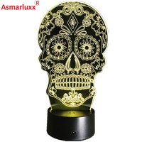 Luminarias Night Light 3D LED Lamp Skull 3D Lights Children S Nightlight Visual Led Night Light