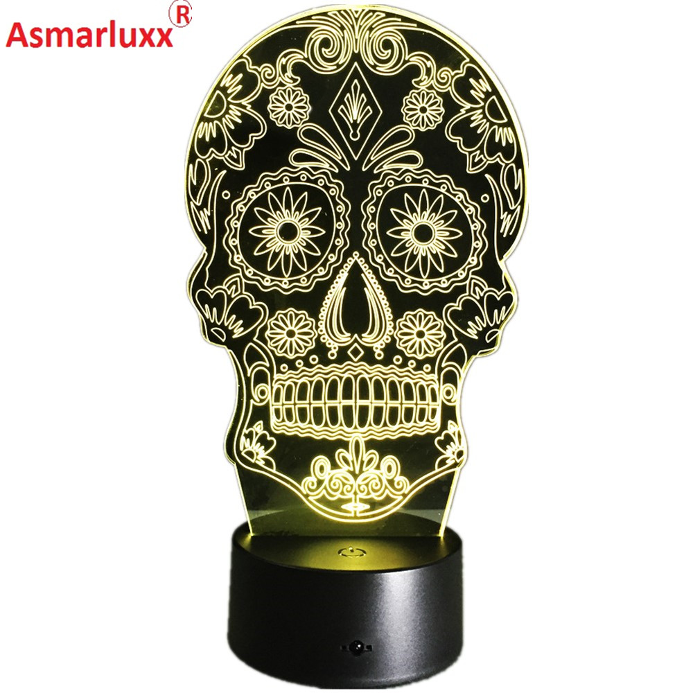 Luminarias Night Light 3D LED Lamp Skull 3D Lights Childrens nightlight Visual Led Night Light Illusion Mood Lamp 7 Colors LampLuminarias Night Light 3D LED Lamp Skull 3D Lights Childrens nightlight Visual Led Night Light Illusion Mood Lamp 7 Colors Lamp