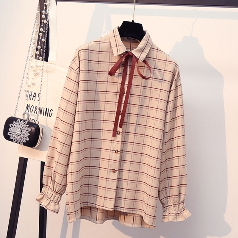 2019 Spring Women Shirts Korean Fashion Retro Plaid Shirt Tops Loose Casual Blouse Student Sweet Bowtie Flare Sleeve Slim Blusa