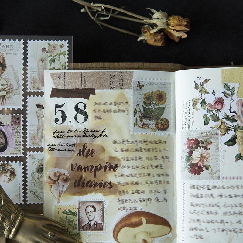 3 pièces/lot rétro timbre fleur décoratif Washi autocollants Scrapbooking bâton étiquette journal papeterie Album autocollants japonais