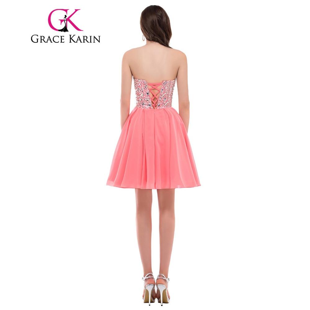 Gracia Karin Hermosa Novia de Gasa Rosa Cortos Vestidos de Dama de ...
