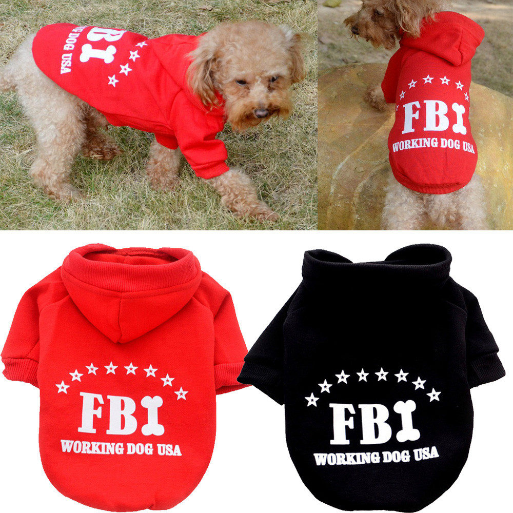 Cute Pet Dog Solid Color FBI Hoodie Dog Clothes For Small Dogs Chihuahua Winter Warm Puppy Costume Pitbull French Bulldog S-XXL