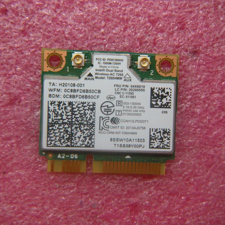 Carte Intel Dua Band sans fil 7260AC 7260HMW 802.11b/g/n/ac et BT4.0 pour Lenovo Thinkpad S540 E540, FRU 04x6010 20200555
