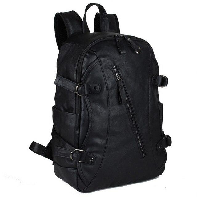 a4265c9b67 New Fashion Faux-leather Men Backpack Casual Backpack For Women School  Backpack Men Shoulder Bag