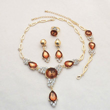 Gold Color Coffee Color Rhinestone Wedding Jewelry Sets