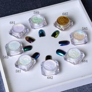 Image 1 - BORN PRETTY 8Pcs/Set Bling Mirror Nail Glitter Chameleon Powder Gorgeous Nail Art Sequins Chrome Pigment Glitters
