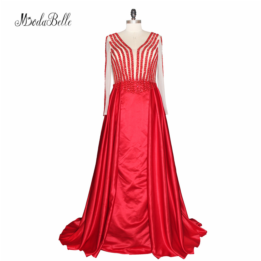 Modabelle Party   Dresses   Red Long Sleeve   Prom     Dress   With Beads Sequins Shiny A Line   Prom     Dresses   Sheer Plus Size Formal Gowns