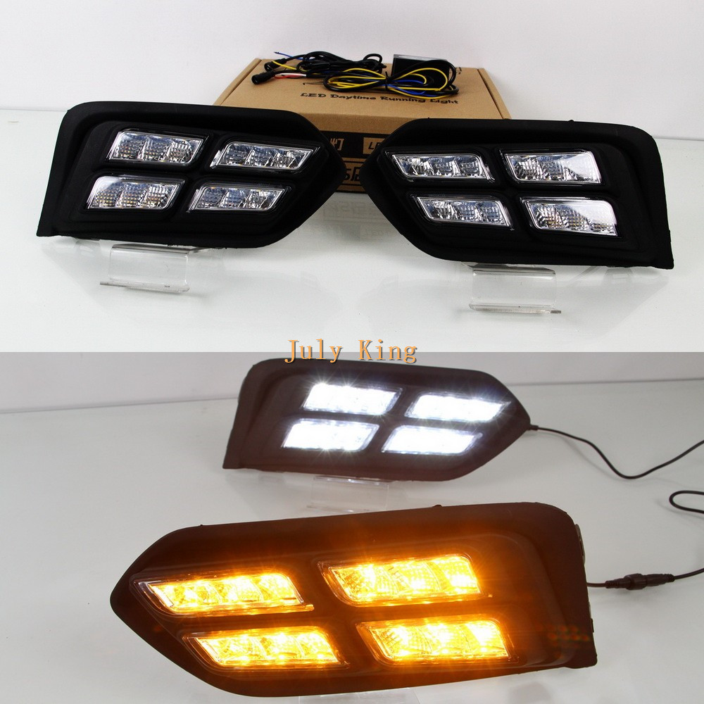 July King LED Daytime Running Lights DRL Case for Honda City 2017+, 12W 6000K 4LEDs Fog Lamp + Yellow Turn Signal Light july king led daytime running lights 6500k 18w led fog lamps case for honda crv fit city crosstour everus and acura 2013 on etc