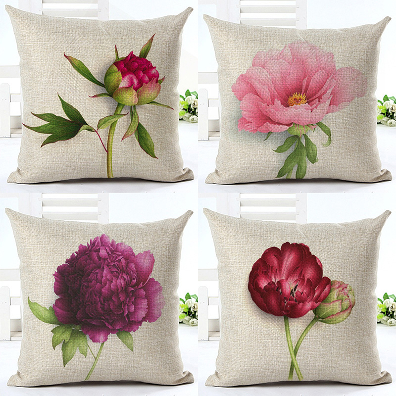 Pillowcase Chinese Rose Square Cushion Cover Pillow Case For Girl Office Home Decor F