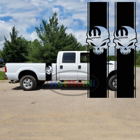 2x Mopar Skull For Dodge Pickup Truck Bed Stripes Decal Car Stickers Car Body Accessories Black