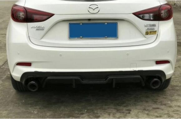 JIOYNG Carbon Fibre Car <font><b>Rear</b></font> <font><b>Bumper</b></font> Lip, Auto Car <font><b>Rear</b></font> Diffuser Fits For <font><b>Mazda</b></font> 3 Axela Hatchback 2017 2018 image