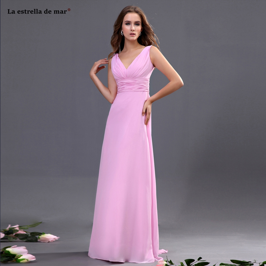Vestidos de festa para senhoras casamento curto2019 new chiffon sexy V-neck open A Line pink   bridesmaid     dresses   long