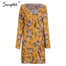 Simplee Ruffle print wrap dress women Sexy v neck mini dress long sleeve summer dress Robo femme streetwear beach vestidos 2018