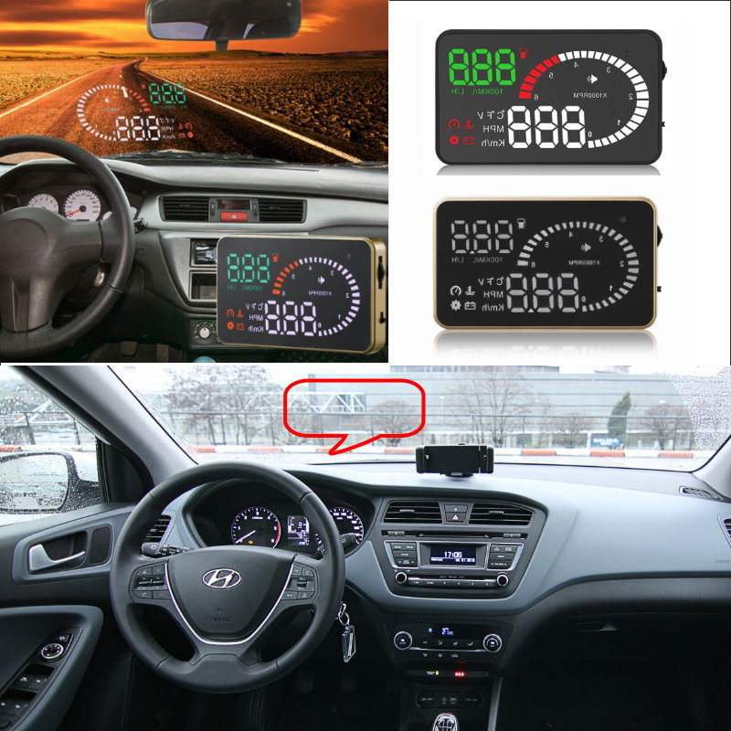 Liislee Car HUD Head Up Display For Hyundai I20 I30 IX25 IX35 Accent Solaris Santa Fe- Safe Screen Projector / OBD II Connector liislee car hud head up display for subaru forester xu impreza legacy outback safe screen projector obd ii connector
