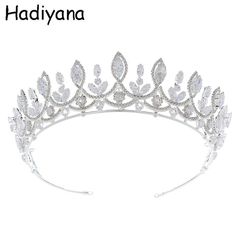 Hadiyana luxe princesse bijoux diadèmes et couronne doré mousseux strass cheval oeil grand Zircon mariage argent couronne HG6100