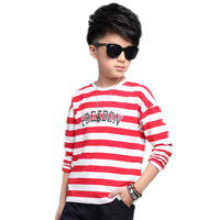 2017 New Spring Kids Clothes Long Sleeve Letter Printed Striped Boys Tshirt Cotton Casual Children Top