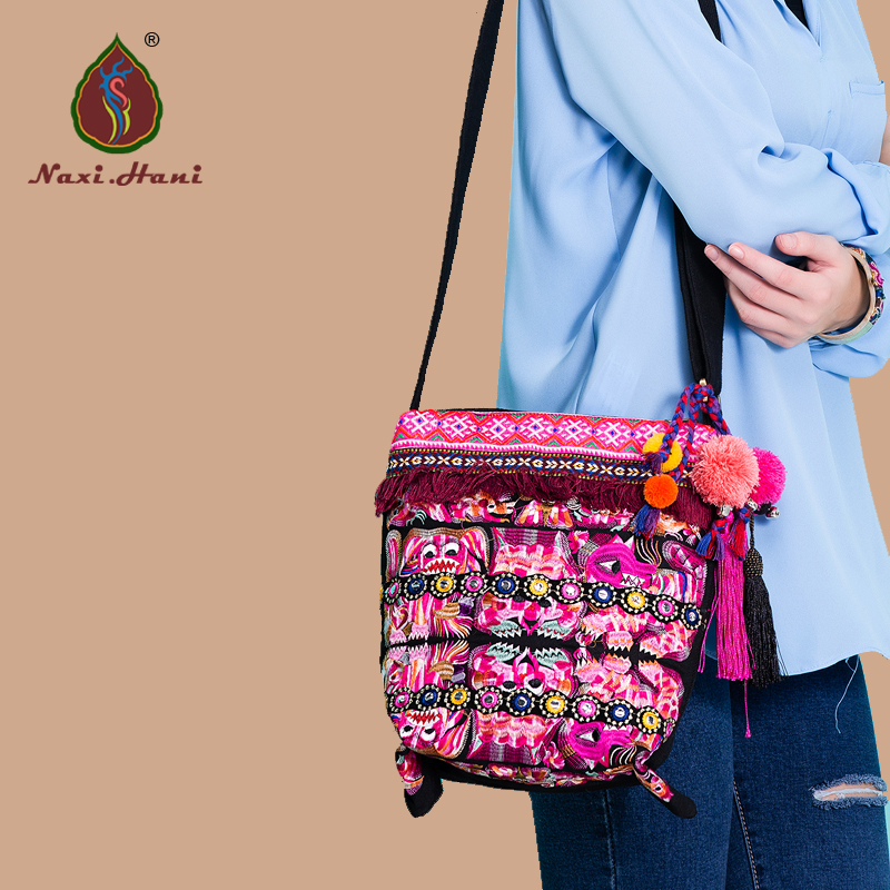 New arrival Bohemia Vintage canvas Bucket bags Ethnic embroidered handmade Tassel Womens shoulder messenger bags