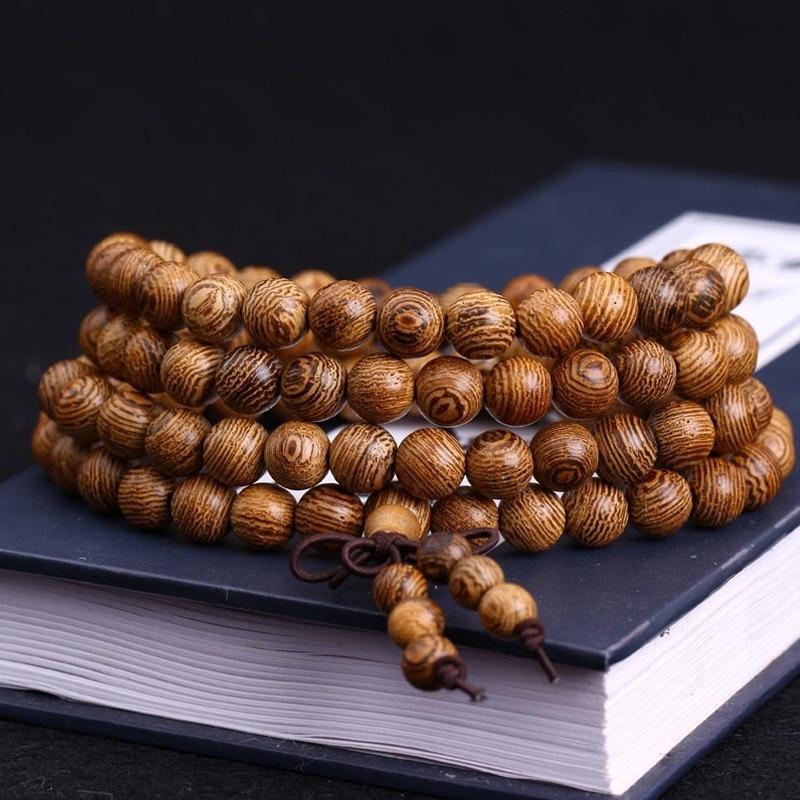 US $4 59 |108 *0 8cm Wenge Prayer Beads Tibetan Buddhist Mala Buddha  Bracelet Rosary Wooden Bangle Jewelry-in Strand Bracelets from Jewelry &