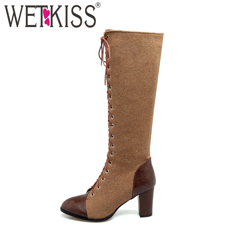 WETKISS Big Size 33-48 Women's Boots Fashion Cross tied Side Zipper Knee High Boots Women's Shoes Winter Boots Thick High Heels цена