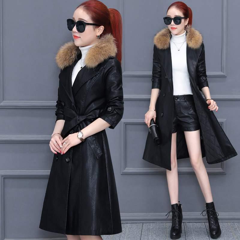 Veste Élégant Manteau Nouvelles Hiver Col Faux 2019 Pr420 Moyen Slim black Femmes De Cuir Pu Mode Fourrure Long Chaud Survêtement Brown T3FKl1Jc