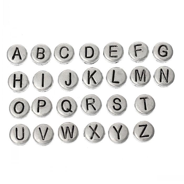 DoreenBeads Spacer Beads Round antique silver color Alphabet