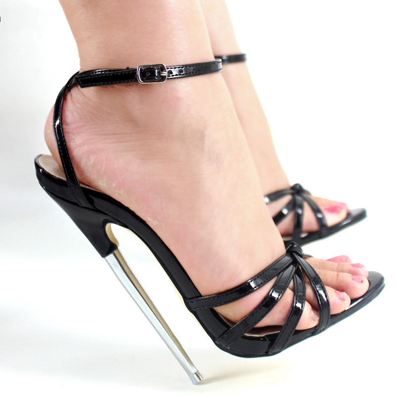 Multi Color Patent Leather Sexy 18cm Heels Women Sandals Metal Heels Ankle Straps Cross Tied Slingbacks Open Toe Summer Shoes trendy women s sandals with cross straps and metal design