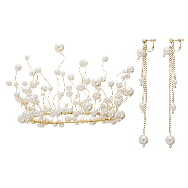 Full Prael Crown With Earrings One Set Bridal Tiaras Wedding Hair Accessories Headband Tiara Girls Party Hair Jewelry