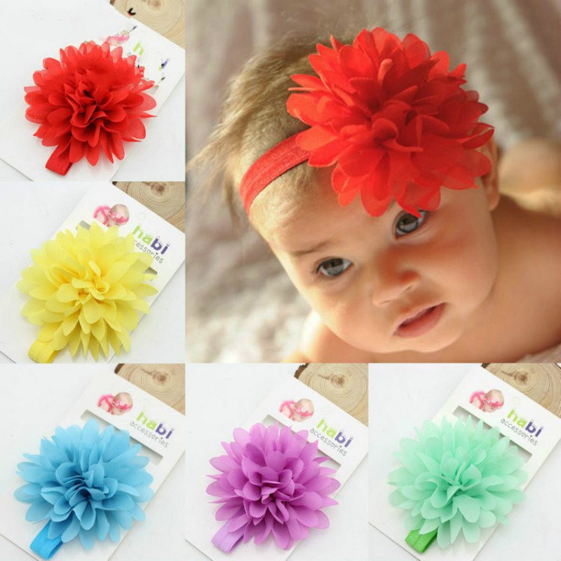 Hot Sale Lovely Baby Girls Elastic Hairband Children Hair Wear For Kids Head Band Chiffon Flower Headband Baby Hair Accessories
