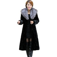 Luxury Winter Women's Genuine Natural Spliced Mink Fur Coat Fox Fur Collar Lady Trench X Long Outerwear VF0296