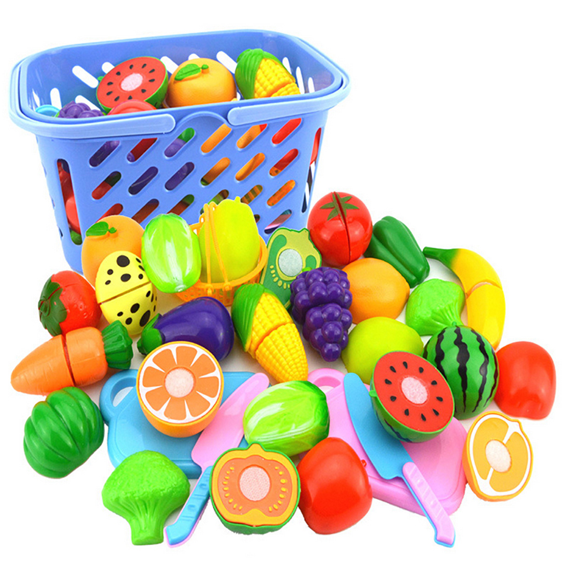 23Pcs/Set Plastic Fruit Vegetables Cutting Toy Early Development and Education Toy for Baby - Color Random