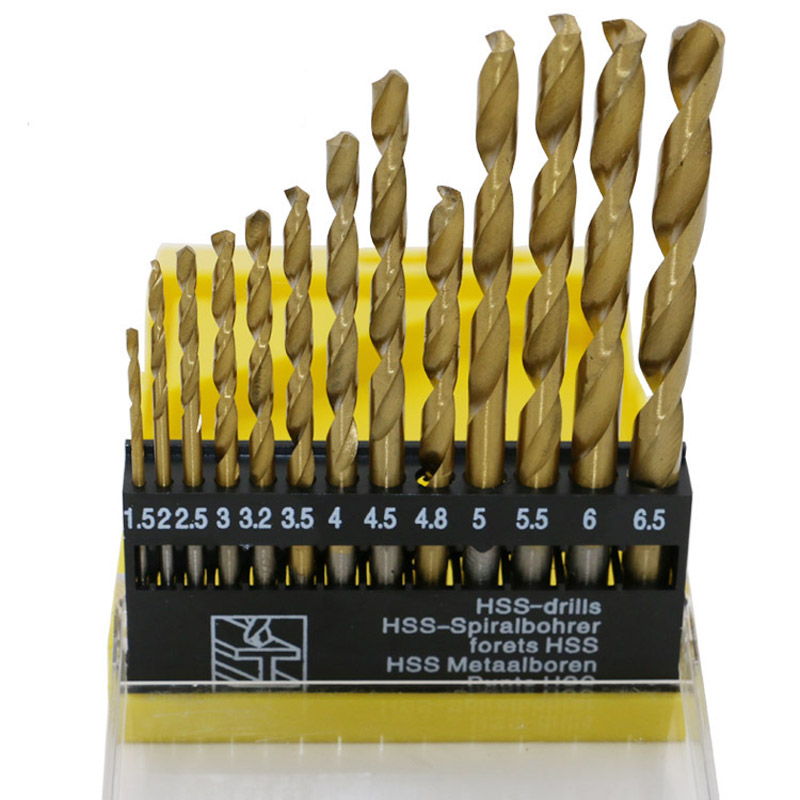 цена на 13pcs/lot HSS High Speed Steel Titanium Coated Drill Bit Set 1/4  Shank 1.5-6.5mm  QST13