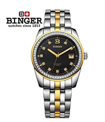 Binger New fashion gold watch luxury crystal cz diamond black watches reloj dama relogio dress bling rhinestone watch Promotion карабин black diamond black diamond rocklock twistlock