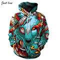 Trend  Men Fashion Hoodies Plus Size S-3XL Wolf Demon 3D Digital Hooded Sweatshirt with Hats Autumn Winter Men Vivid Hoodies