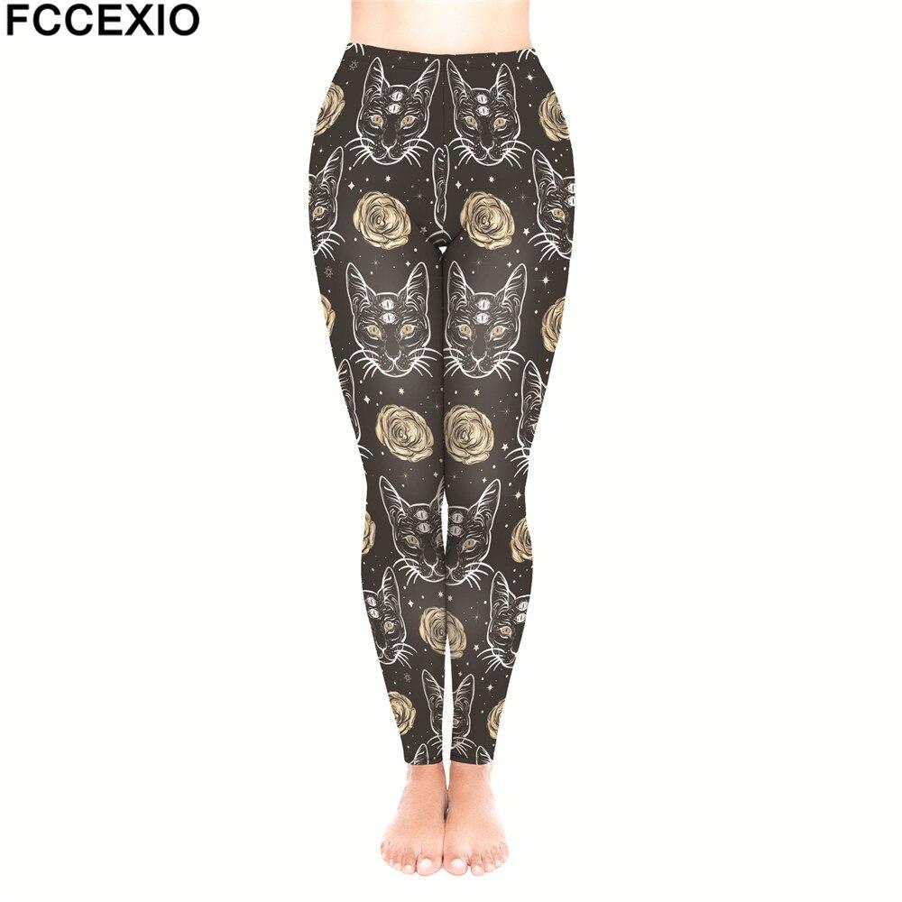 FCCEXIO New Brand Female Workout Pants High Waist Fitness   Leggings   Psycho Cats Rose Print Leggins Women   Leggings   Slim Trousers