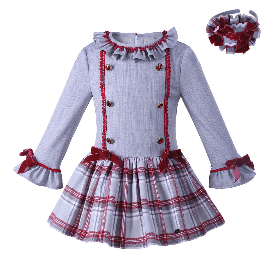 Pettigirl New Arrival Autumn Girl Dress With Headhand Flare Sleeve Grid Dresses Girls Causal Boutique Kids