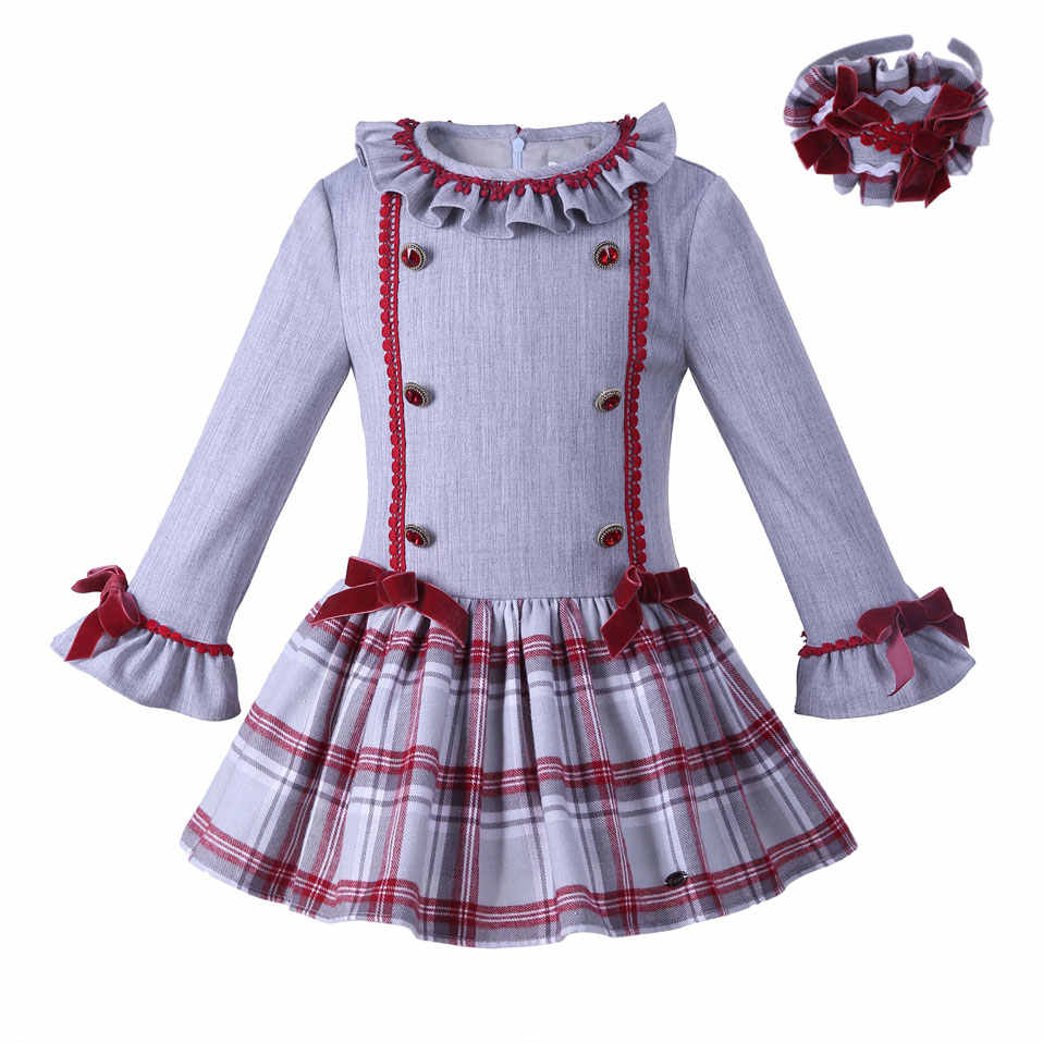 Pettigirl New Arrival Autumn Girl Dress With Headhand Flare Sleeve Grid Dresses  Girls Causal Boutique Kids f0c6d9ab093f
